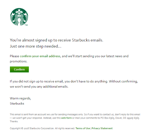 Starbucks Welcome email marketing